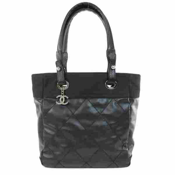 Authentic Chanel Paris Biarritz PM Tote Bag Leather