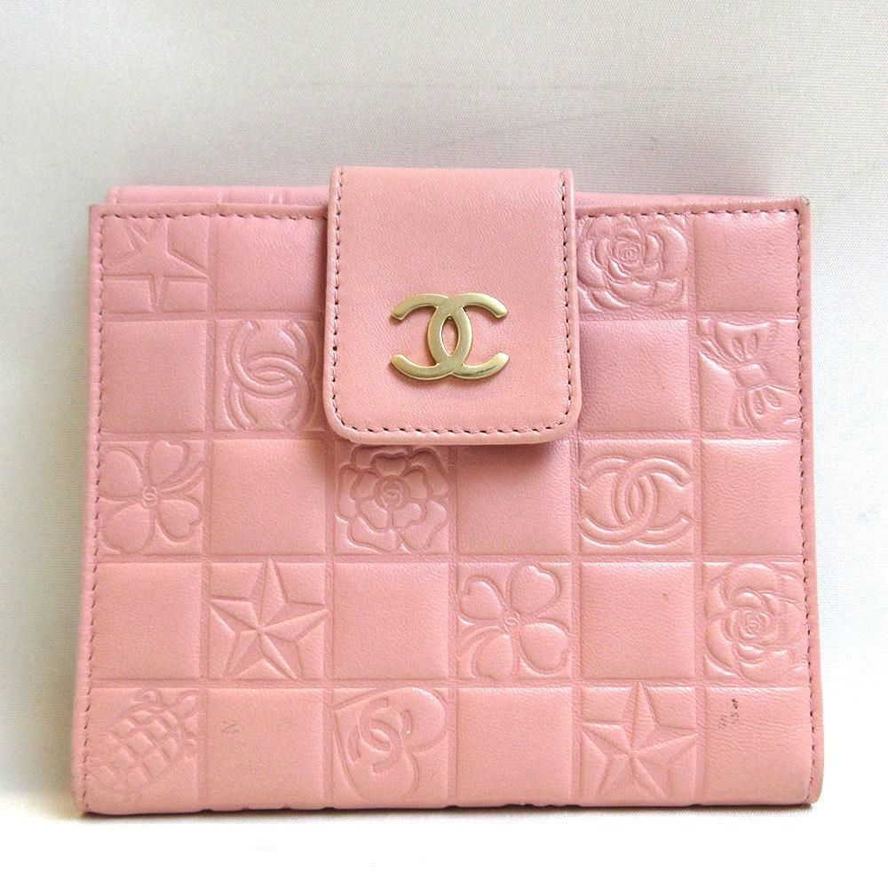 Authentic Chanel Purse Icon Folded Leather Pink