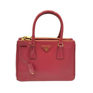 Authentic PRADA 2way shoulder bag ladies red gold metal