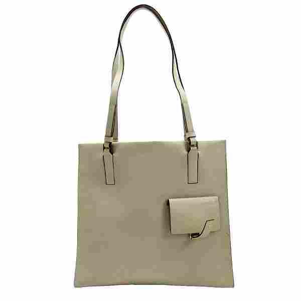 Authentic Prada shoulder bag beige leather ladies