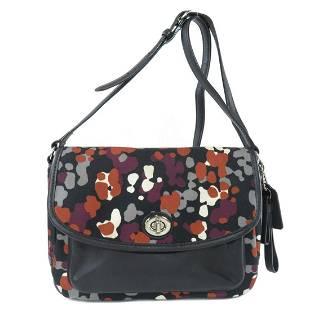 Authentic Coach F33333 Flower Motif Shoulder Bag Canvas