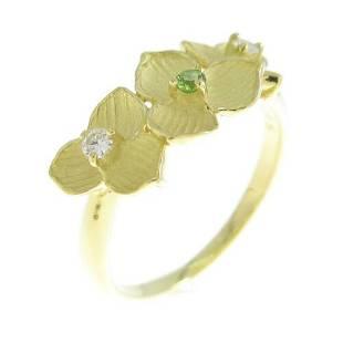 Authentic K18Yellow Gold Flower Demantoid Garnet Ring