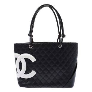 Authentic CHANEL Cambon line Large tote Black / white
