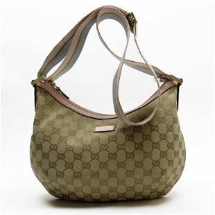 Authentic Gucci Shoulder Bag GG Beige Blue Pink Gold