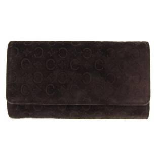 Authentic Celine C Blason Long Wallet Suede Brown