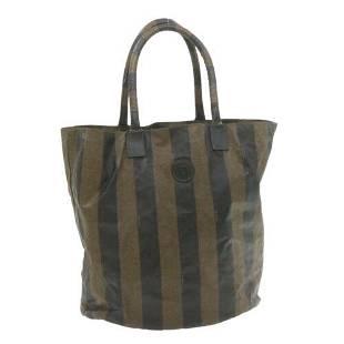 Authentic FENDI Pequin Canvas Hand Bag Brown PVC