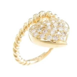 Authentic K18 Yellow Gold Heart Diamond ring