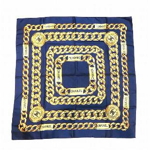 Authentic Chanel Chain Pattern Scarf Navy Gold Ladies