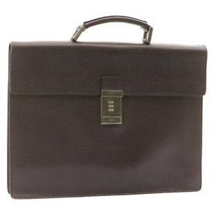 Authentic PRADA Briefcase Leather Brown