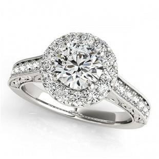 1.4 ctw Certified VS/SI Diamond Halo Ring 18k White