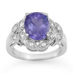 4.25 ctw Tanzanite & Diamond Ring 18k White Gold