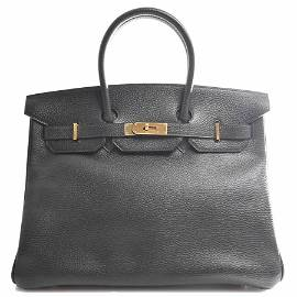 Authentic HERMES Ardennes Birkin 32 Handbag Black