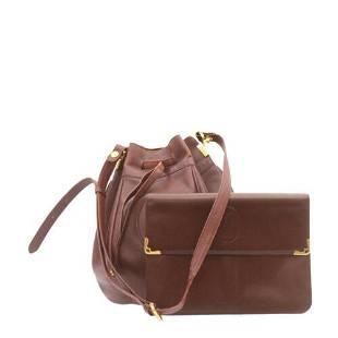 Authentic CARTIER Clutch Bag Shoulder Bag Leather 2Set