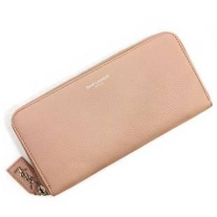 Authentic Saint Laurent Round Zipper Long Wallet Pink