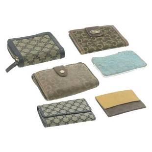 Authentic CELINE Leather Macadam Wallet Coin Key Case
