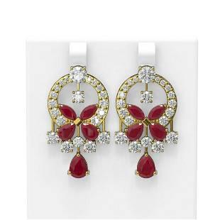 17.33 ctw Ruby & Diamond Earrings 18K Yellow Gold