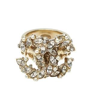 Authentic Chanel CC Rhinestone Ring