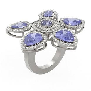 11.26 ctw Tanzanite Diamond Ring 18K White Gold