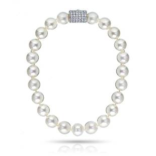 Platinum Large White Pearl Necklace
