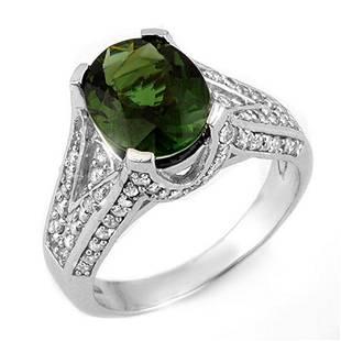4.55 ctw Green Tourmaline & Diamond Ring 18k White Gold