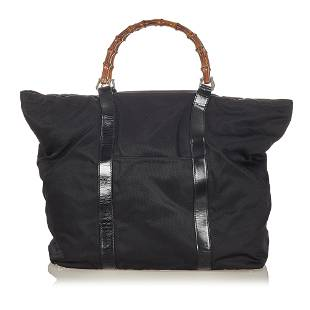 Authentic Gucci Bamboo Nylon Tote Bag