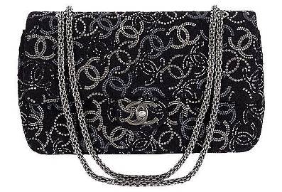 Authentic Chanel Rhinestone Logo Double-Flap Bag