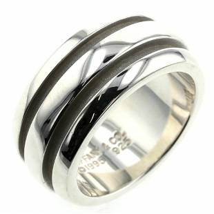 Authentic Tiffany Ring Grooved Double Line Silver 925