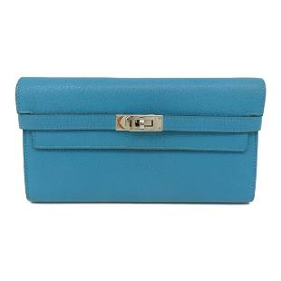 Authentic HERMES Kelly Wallet Turquoise Chevre