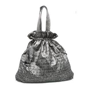 Authentic CHANEL Totebag Silver PVC