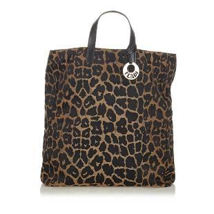 Authentic Fendi Leopard Print Canvas Handbag