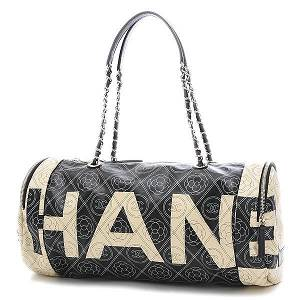 Authentic Chanel Camellia Coco Mark Logo Bowling Bag