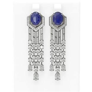 13.73 ctw Sapphire & Diamond Earrings 18K White Gold
