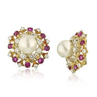 Authentic David Webb Platinum Pearl Diamond & Ruby