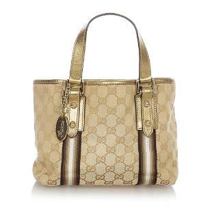 Authentic Gucci GG Canvas Jolicoeur Tote Bag