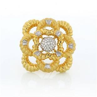 1970's 18K Yellow Gold Multi-cut Diamond Brooch