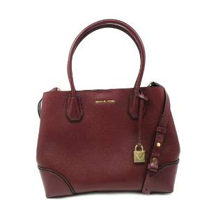 Authentic Michael KORS Mercer Gallery Wine Red Leather
