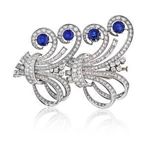 Art Deco Platinum 1930's French Sapphire & Diamond