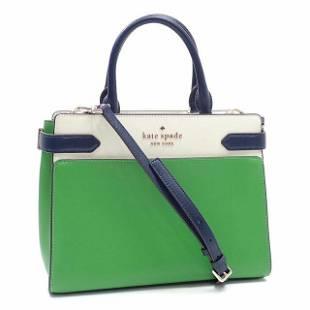 Authentic Kate Spade Handbag Ladies Green Ivory Leather