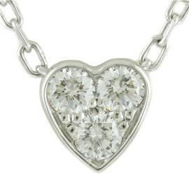 Authentic CARTIER K18WG Necklace Mini Heart of Diamond