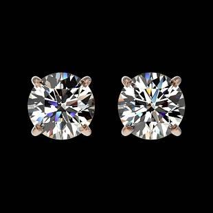 1 ctw Certified Quality Diamond Stud Earrings 10k Rose