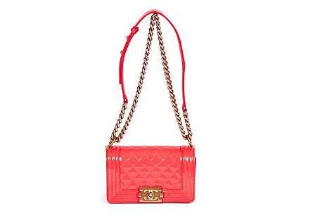 Authentic Chanel Fluorescent Patent Pink Boy Bag