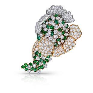 Platinum & 18K Yellow Gold 40 carat Floral Diamond &