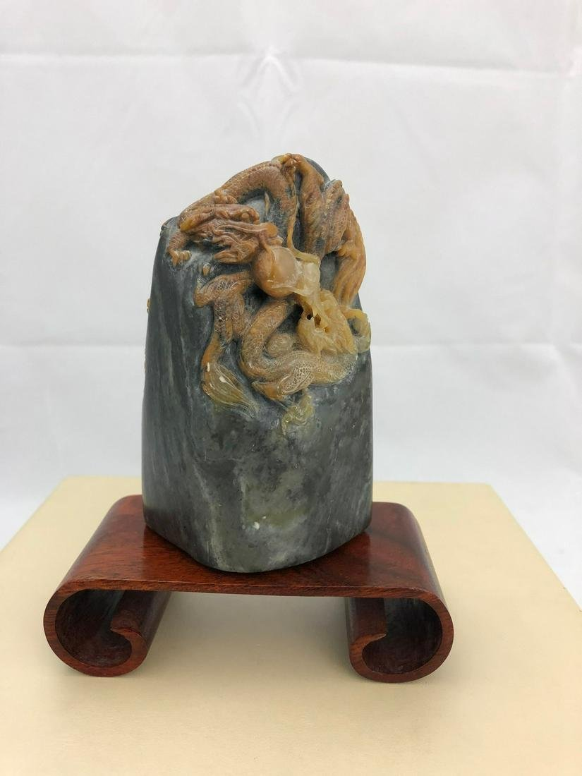 Chinese Hand-Carved 3 Dragon Rock