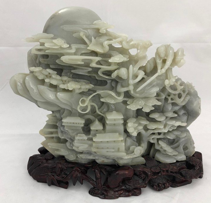 Chinese Vintage Jadeite Mountain Retreat