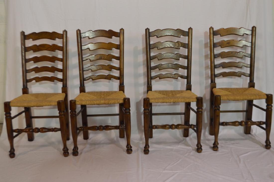 Set of Four Vintage Oak Ladderback Chairs