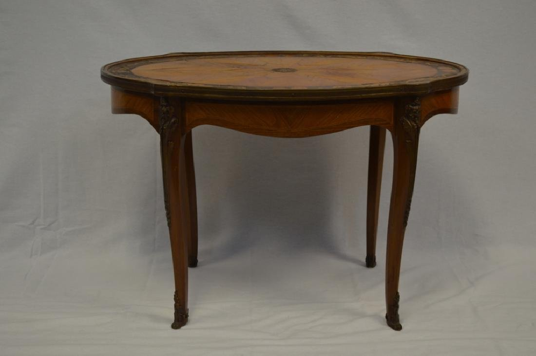 Louis XV Style Oval Marquetry Side Table