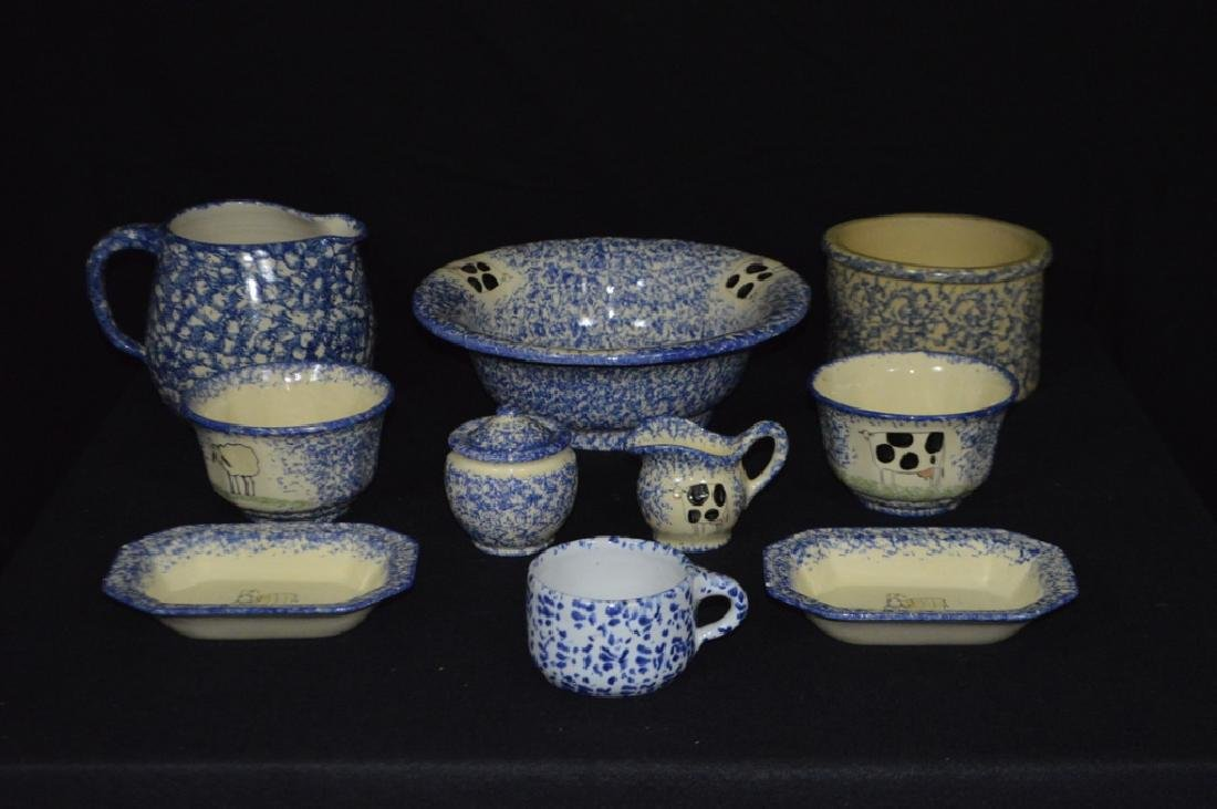 Set of Ten Blue and White Stoneware Items