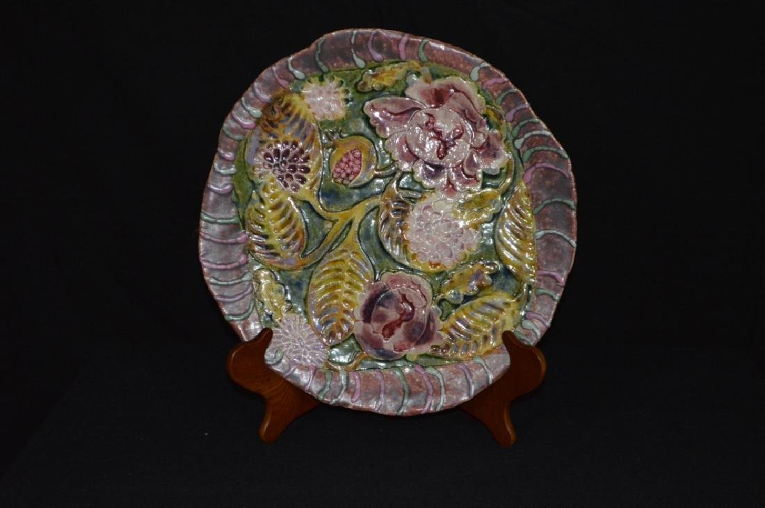 Floral Decorated Stoneware Plate