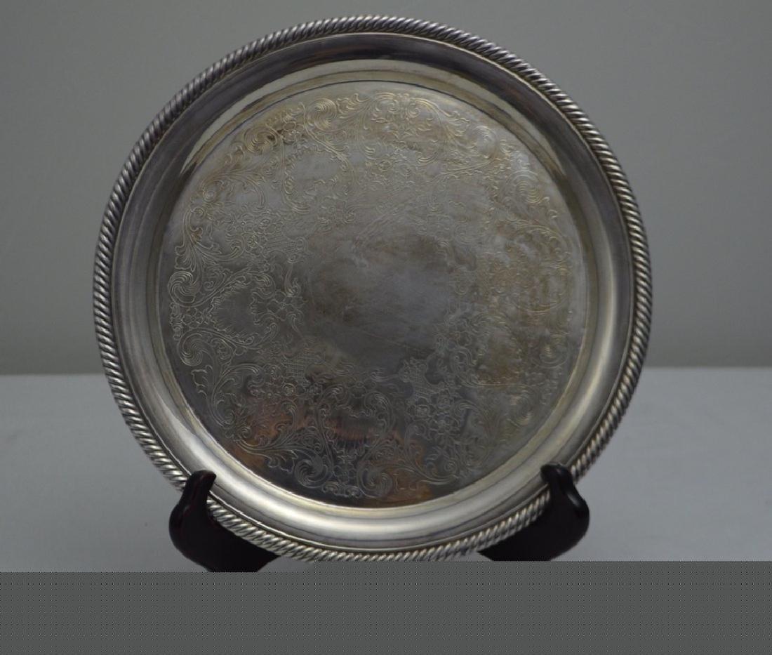 International Silver Co Silver Plate Circular Tray
