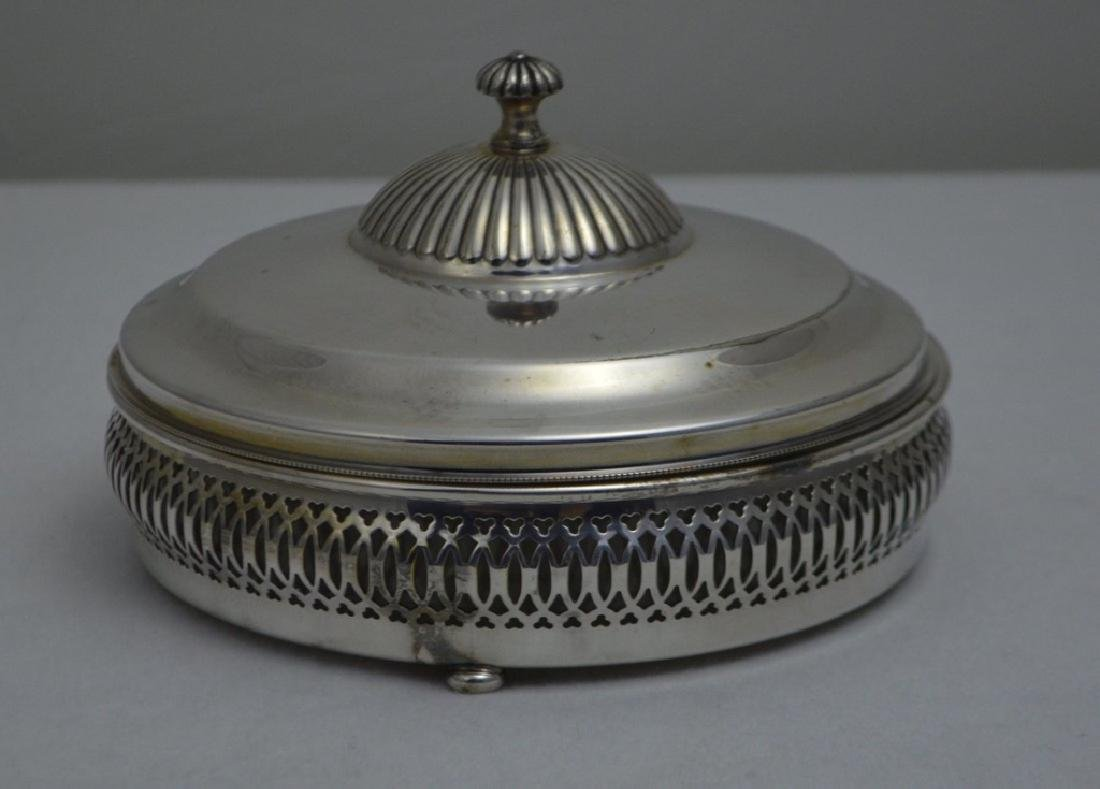 Crescent Silver Plate Lidded Relish Dish